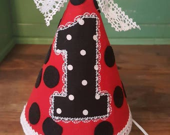 Ladybug And Lace First Birthday Bib Or Party Hat 1st Ladybugs