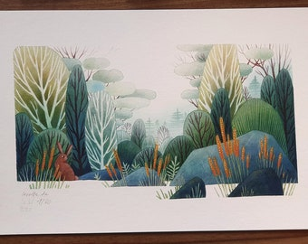 """FINE ART """"Foggy Forest"""" limited DIN A4 Giclée Print 21 x 30 cm from my watercolor illustration"""
