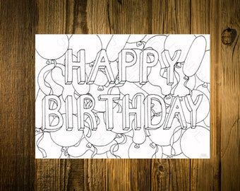 Printable Card To Colour In Happy Birthday With Balloons Hand Drawn Design Making Create Your Own Cute Instant Download