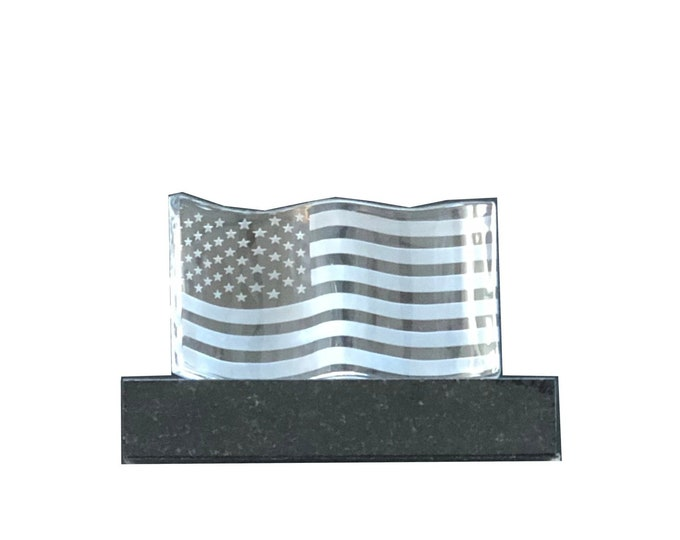 Vintage Steuben Crystal Flag America with Original Granite Base