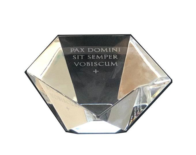 Vintage Engraved Steuben Geometric Star Prism