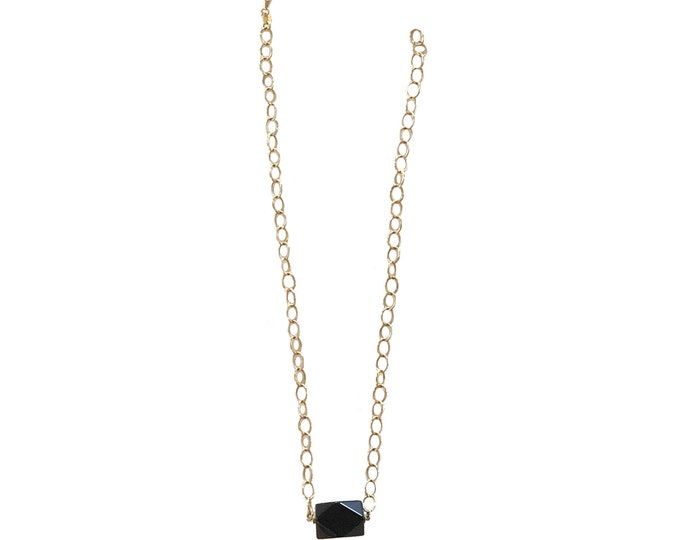 Vintage 14k Italian Yellow Gold & Black Onyx Necklace