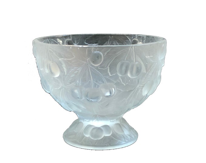 Vintage Barolac Czech Frosted Crystal Footed Bowl Cherries