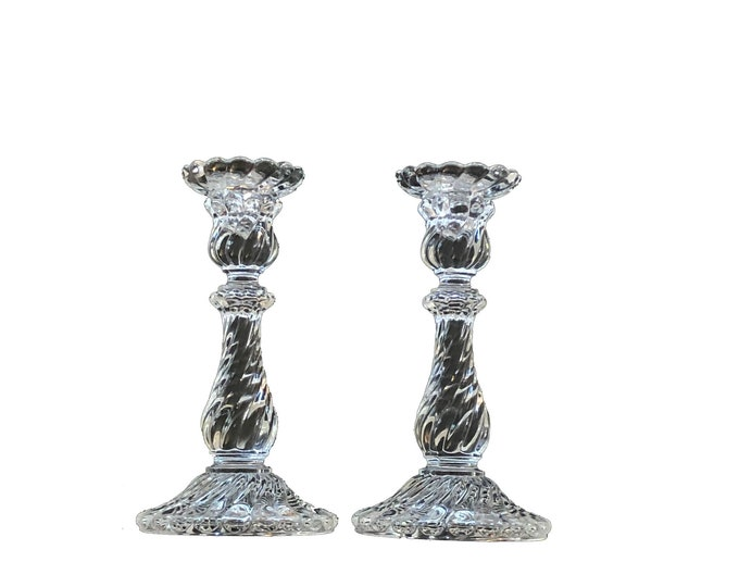 Vintage Baccarat Crystal Bambous Swirl Candle Sticks Set of Two
