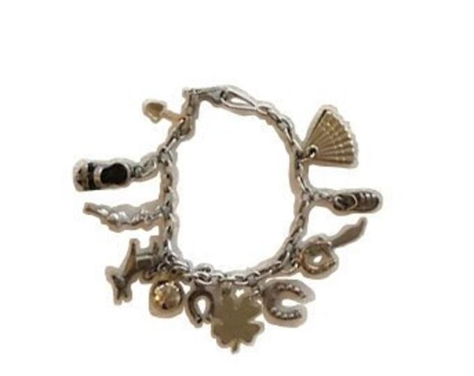 Vintage Silver Mexican Charm Bracelet