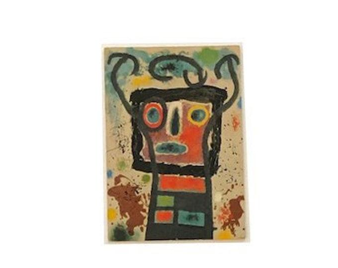 Vintage Joan Miro Oiseau emprisonne par un personnage 1963 Postcard