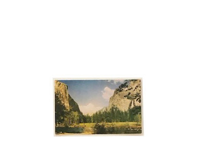 Vintage Yosemite Valley Bridaveil Falls and El Capitan Postcard
