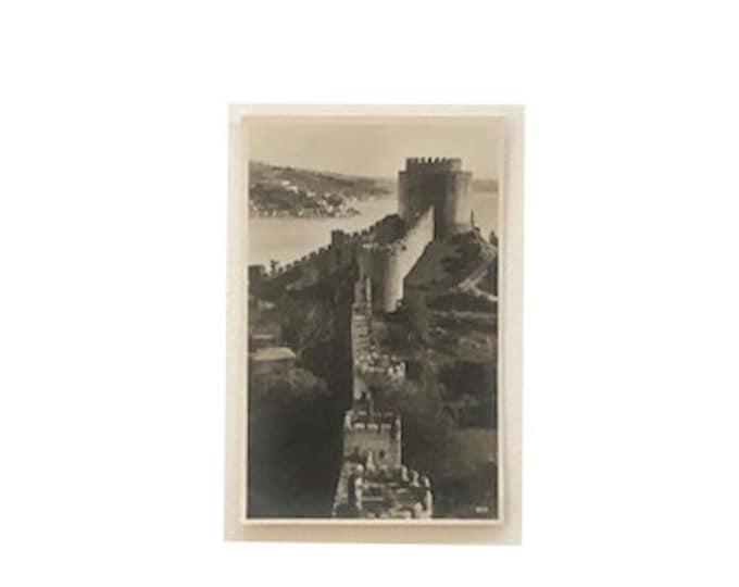 Antique Turkey Constantinople Fortress at the Bosporus Photo Postcard