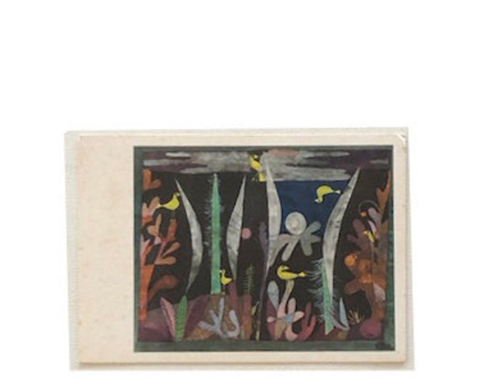 Vintage P. Klee Landscape with yellow birds. Postcard