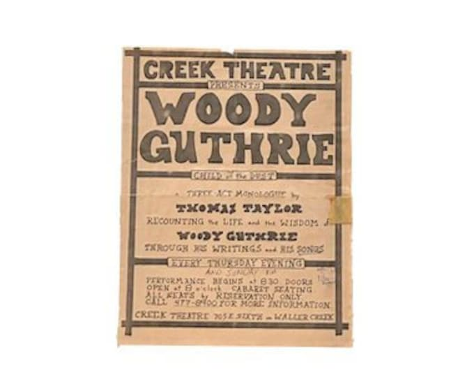 Vintage Woody Guthrie Thomas Taylor Concert Flyer