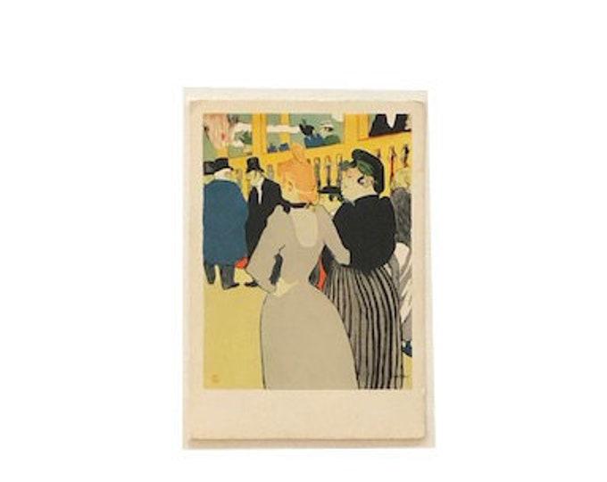 Vintage H. de Toulouse Lautrec Moulin Rouge Lithograph Postcard