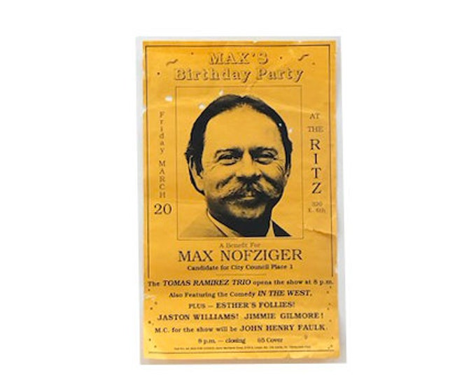 Vintage Max's Birthday Party Benefit Poster