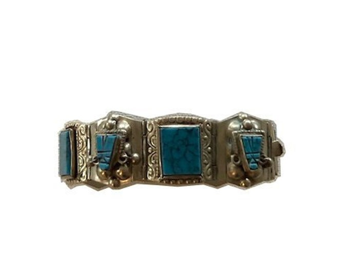 Vintage Mexican Silver & Turquoise Bracelet