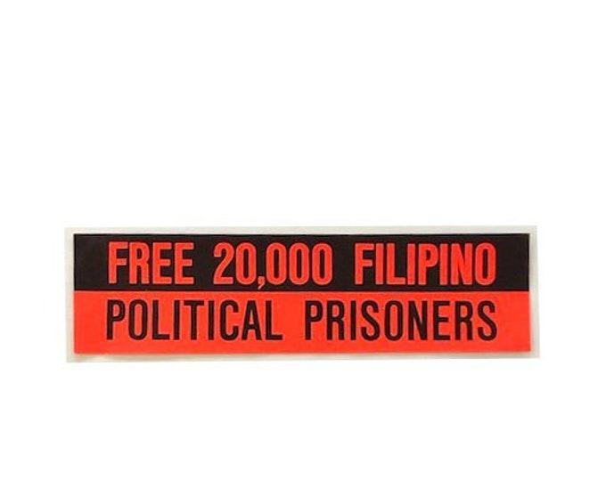 Vintage Free 20,000 Filipino Political Prisioners Bumper Sticker