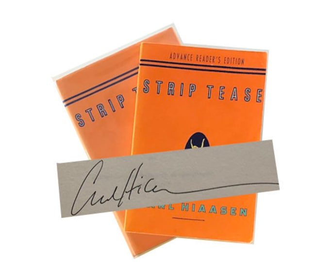 Signed set of Strip Tease by Carl Hiaasen