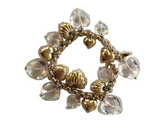 Vintage Italian 14k Yellow Gold & Crystal Heart Charm Bracelet by Milor