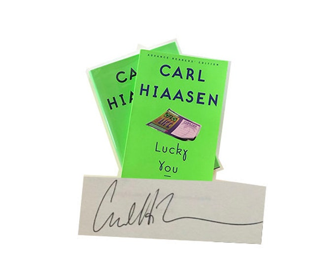 Signed set of Lucky You by Carl Hiaasen
