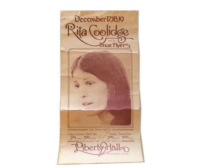 Vintage Liberty Hall Rita Coolidge Concert Poster