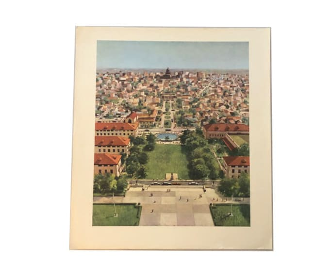 Vintage Michael Frary View From the Tower University of Texas Print