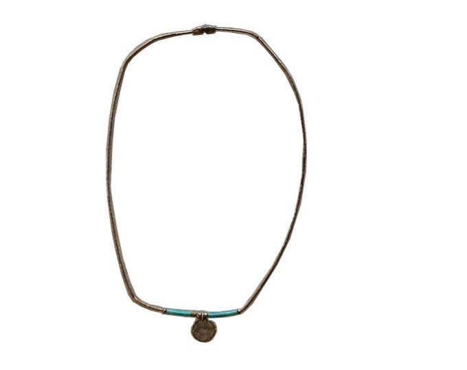 Vintage Native American Silver & Turquoise Dream Catcher Necklace