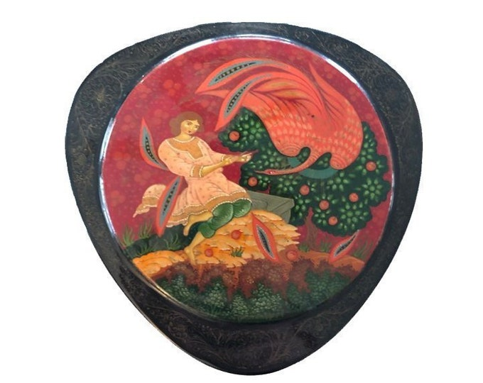 Vintage Russian Fairytale Black and Red Lacquer Box