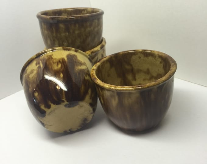 Vintage Spongeware Bowls Dark Brown Set of 4