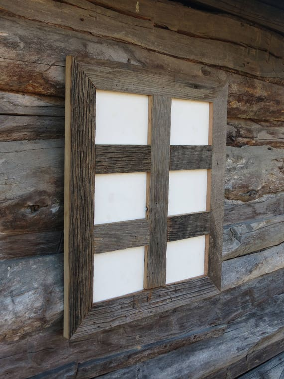 "5x7-2.5/"" Wide Reclaimed Rustic Barn Wood Collage Photo Frame Holds 4 Photos"