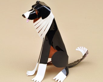 Border Collie Dog Sculpture Handmade Copper Miniature Collectible Art, Border Collie Art, Border Collie Figurine, Border Collie Gift