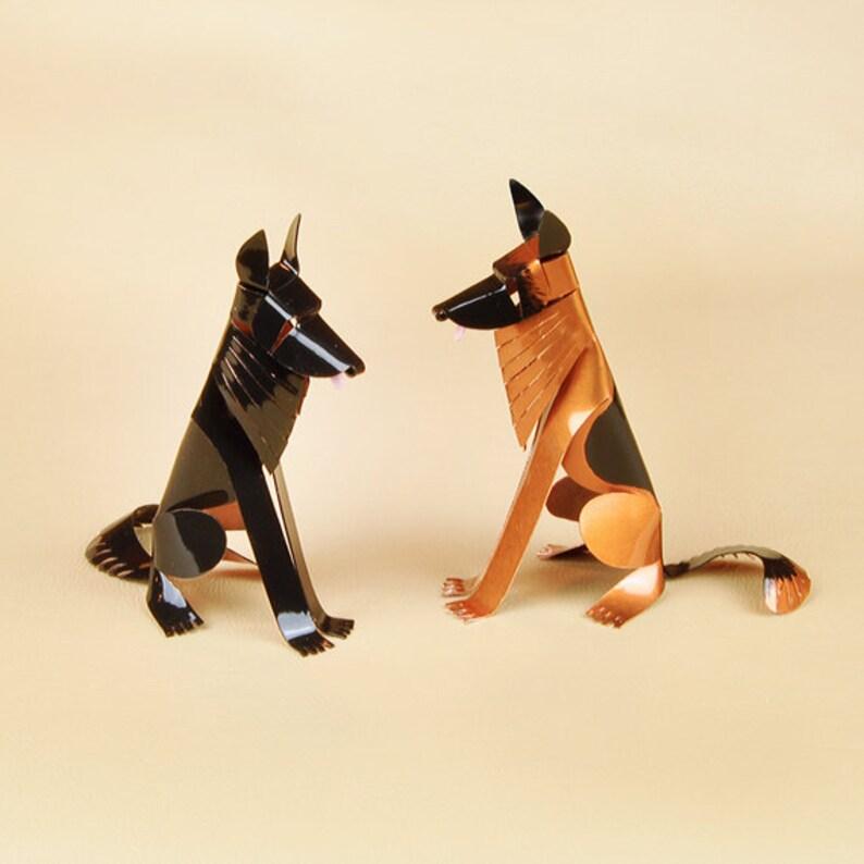 Handmade Copper Miniature Shepherd Figurine Shepherd Art German Shepherd Dog Sculpture Custom Shepherd Gift Collectible Dog Art