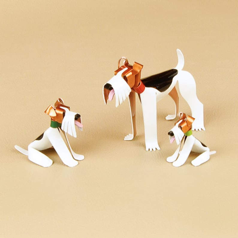 Fox Terrier Wire Puppy Dog Sculpture, Handmade Copper Miniature,  Collectible Dog Art, Wire Fox Terrier Art, Wire Fox Terrier Figurine
