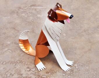 "Rough Collie Dog Sculpture 3.5"" tall Handmade Copper Miniature Collectible Art, Rough Collie Art, Rough Collie Figurine"