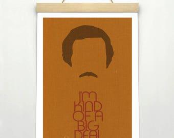 "ANCHORMAN, Original Design, Ron Burgundy, Inspired Minimalist Poster Print 24 x 36"""
