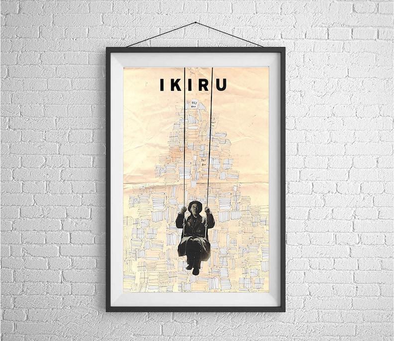 48495baae1f IKIRU movie poster black and white print minimalist print