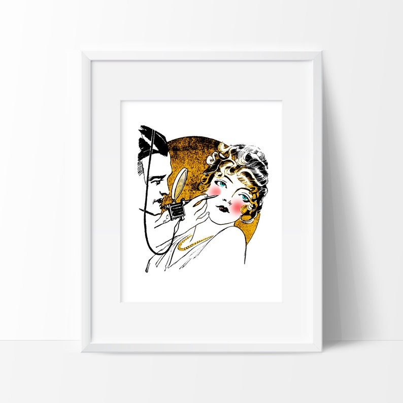 Hot Cheeks! Tattoo parlor salon makeup luxe vintage glamour instant digital  download 3 sizes 5X7, 8X10 and 11X14 wall art fashion kitch