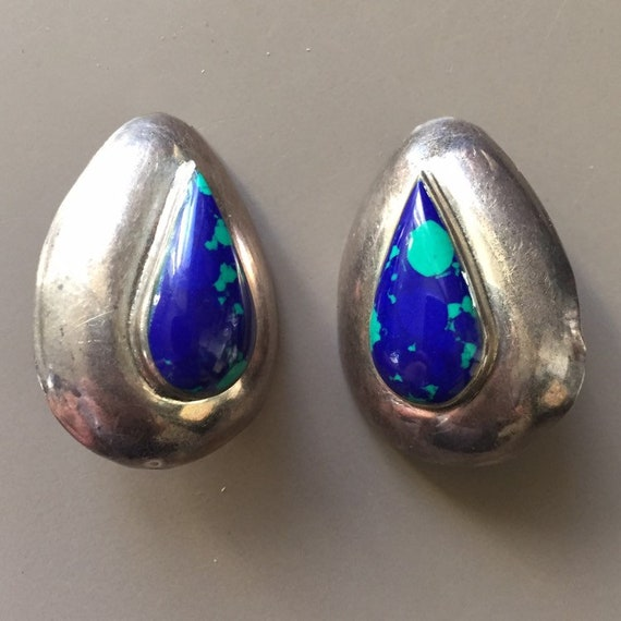 Midcentury Mexican 925 Silver and Blue and Green S