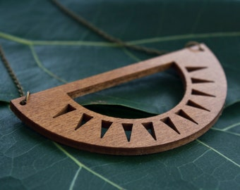 Sunburst necklace - wooden necklace - wooden jewellery - sustainable jewellery - eco-friendly jewellery - NZ made - Aztec inspired