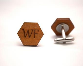 Custom cufflinks - wooden cufflinks - wedding cufflinks - date cufflinks - initial cufflinks - personalised cufflinks - groomsmen - groom