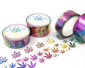PAIR (2 rolls) Rainbow Foil Marijuana Washi Clear Tape - 20mm Realistic Leaves and 15mm Stylized leaves cannabis 420 washi paper tape