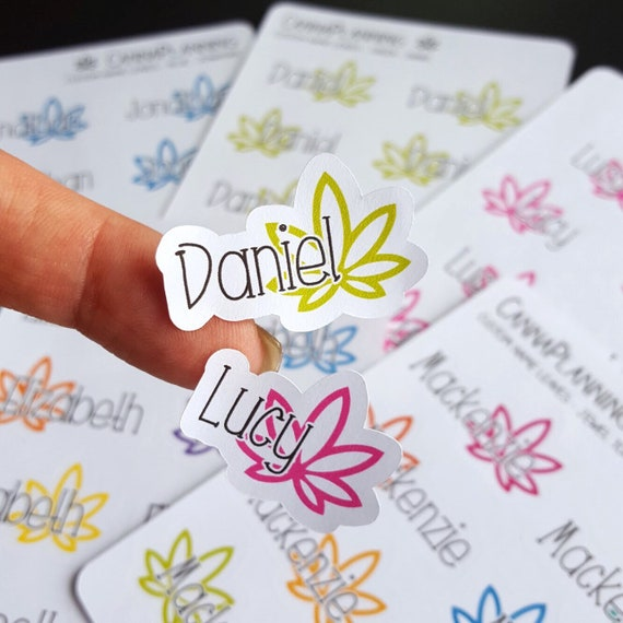 Small custom name pot leaf stickers cannabis stickers