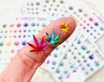 CLEAR KALEIDOSCOPE FOILED  Realistic-Style Pot Leaf Stickers (*updated colors - Feb 2021*) | planner stickers, weed stickers, marijuana art