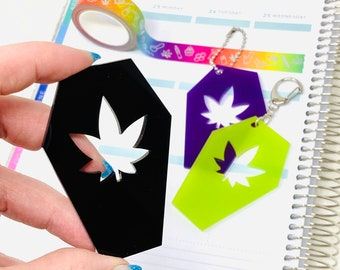 Pot Leaf coffin washi cutter | cannabis marijuana stickers and washi tape scrapbook accessory planner gift