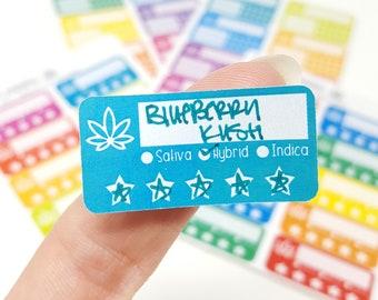 Small Strain Tracker Stickers (Style 1 - Sativa/Hybrid/Indica) | Strain rating stickers Cannabis Trackers Marijuana stickers strain labels
