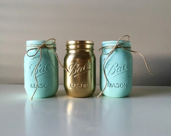 Teal//Mint Colored Mason Jars Set Of 4 16 Ounce Decor Wedding