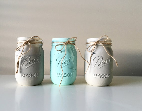 Baby Boy Shower Decorations - Painted Mason Jars - Baby Shower Centerpieces  - Boy Baby Shower - Baby Shower Centerpieces
