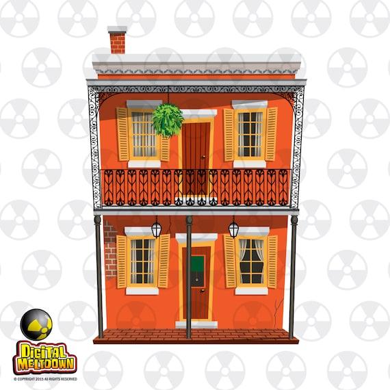 New Orleans Vektor Clipart Franzosisch Quarter 2 Etagen Mit Etsy