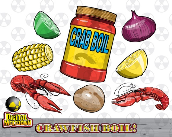 louisiana vector clipart crawfish boil ingredients instant etsy rh etsy com Funny Crawfish Clip Art crawfish boil clipart