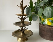 Vintage Brass Tiered Pineapple Tray Stand