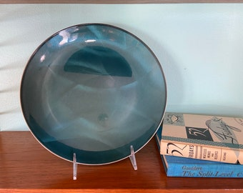 31cm Over 12 Vintage Cathrineholm Turquoise Enamel Large Plate Scandinavian Norway Cathedral series 1955