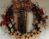 Autumn Grapevine Wreath with Ribbon
