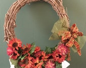 Grapevine Wreath with Flowers and Bow